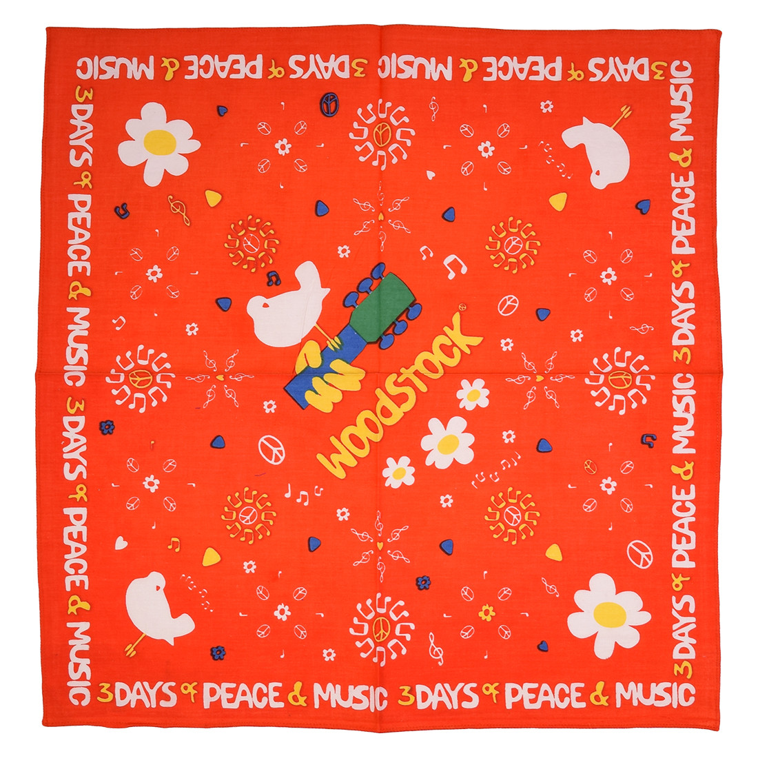 Woodstock Peace Flower Red Bandana