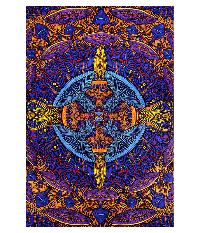 Magic Mushroom Spiral Glow In The Dark 3D Tapestry Liquid Blue