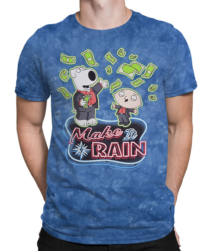 Family Guy Make It Rain Tie-Dye T-Shirt Tee Liquid Blue