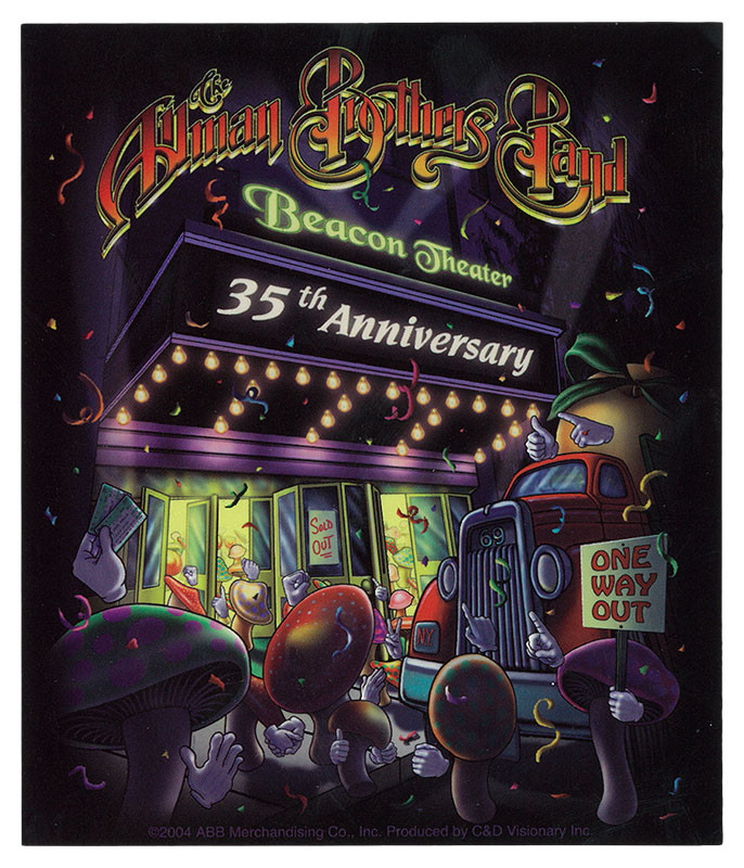 ALLMAN BROTHERS BEACON THEATRE 35 YEARS STICKER