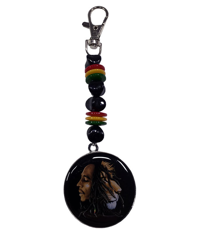 Bob Marley Profile Beaded Keychain