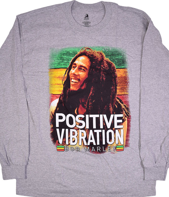 Bob Marley Positive Vibrations Heather Grey Long Sleeve T-Shirt Tee
