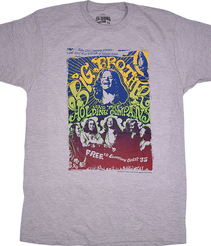 Janis Joplin Big Brother Vintage Handbill Heather Grey Poly-Cotton T-Shirt Tee