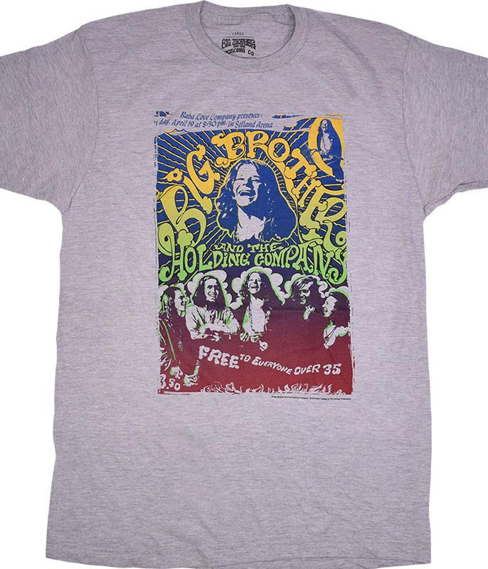 Janis Joplin Big Brother Vintage Handbill Heather Grey Poly-Cotton T-Shirt Tee