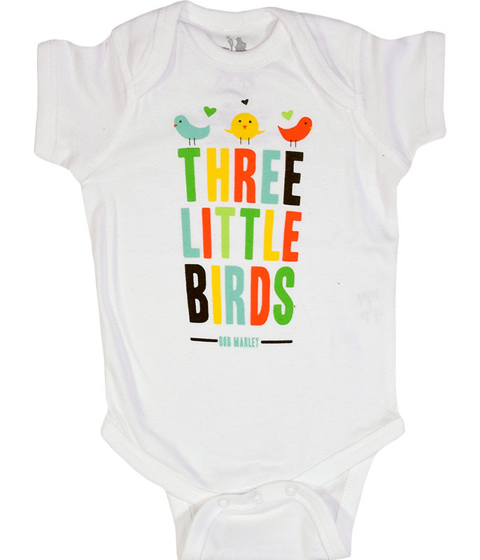 Bob Marley Bird Hearts White Onesie