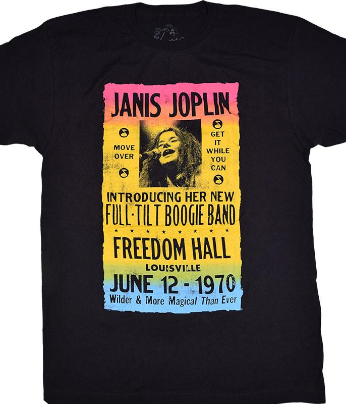 Janis Joplin Freedom Hall Poster Black T-Shirt Tee