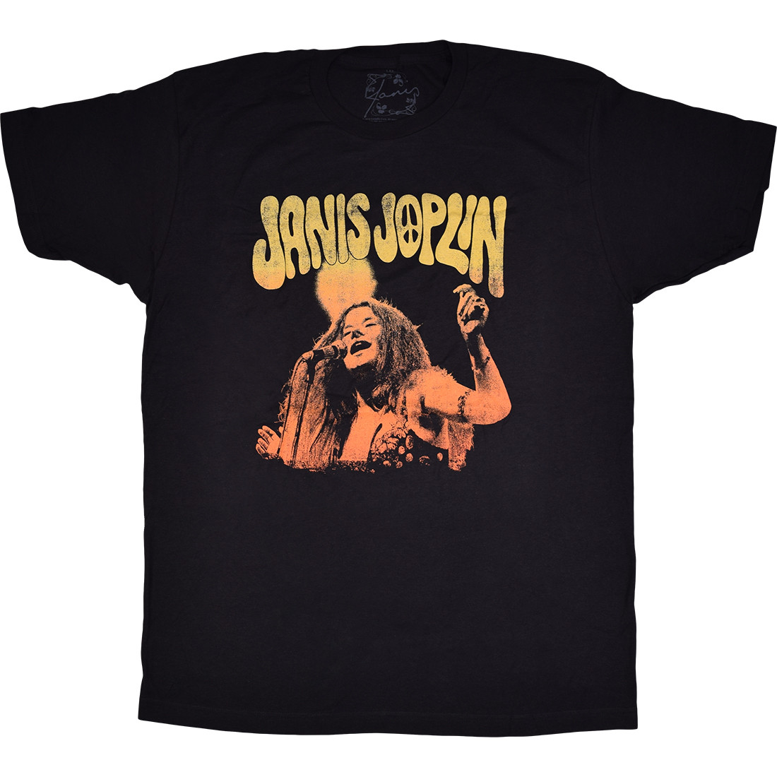 Janis Joplin Live Black Athletic T-Shirt
