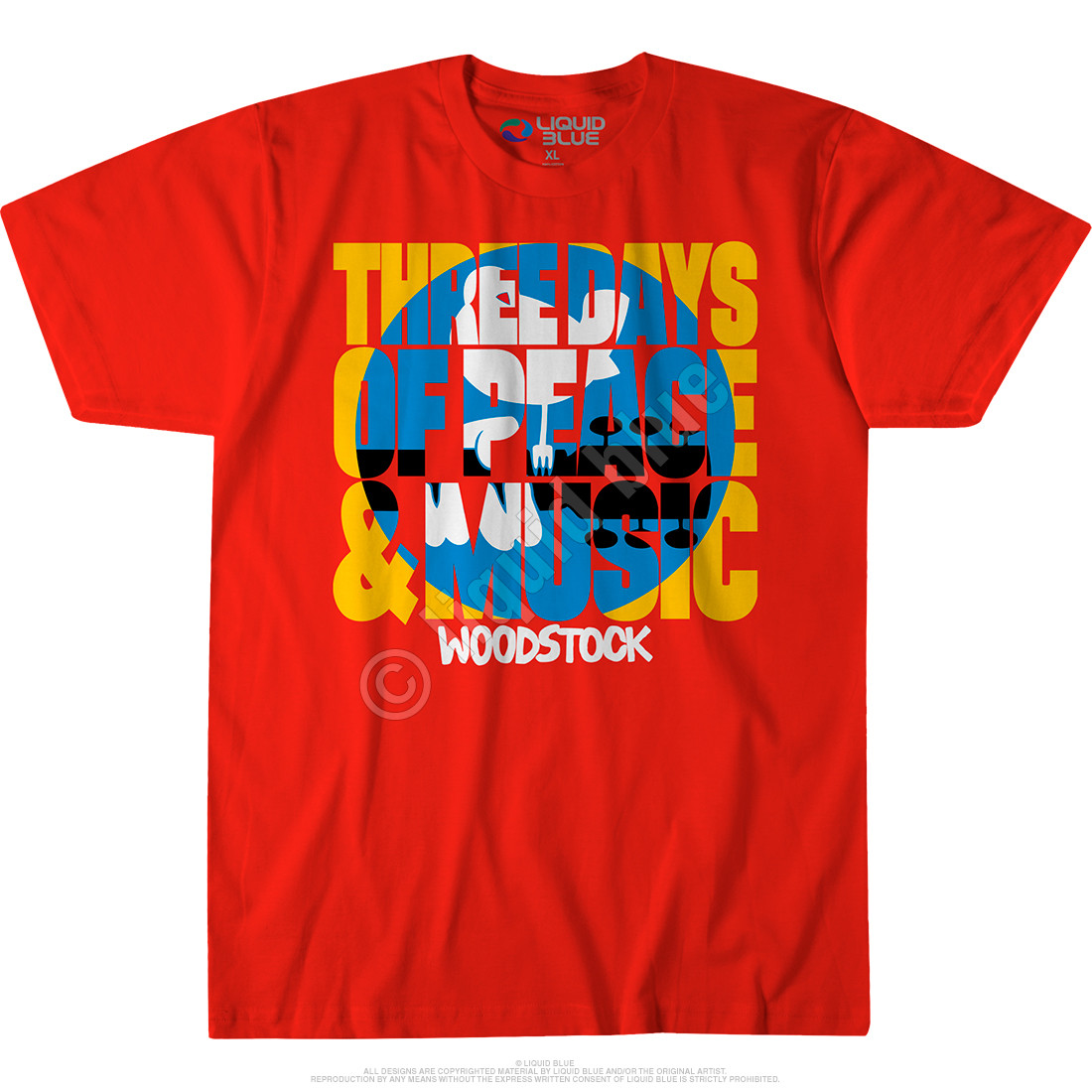 Woodstock Logo Red Athletic T-Shirt T-Shirt