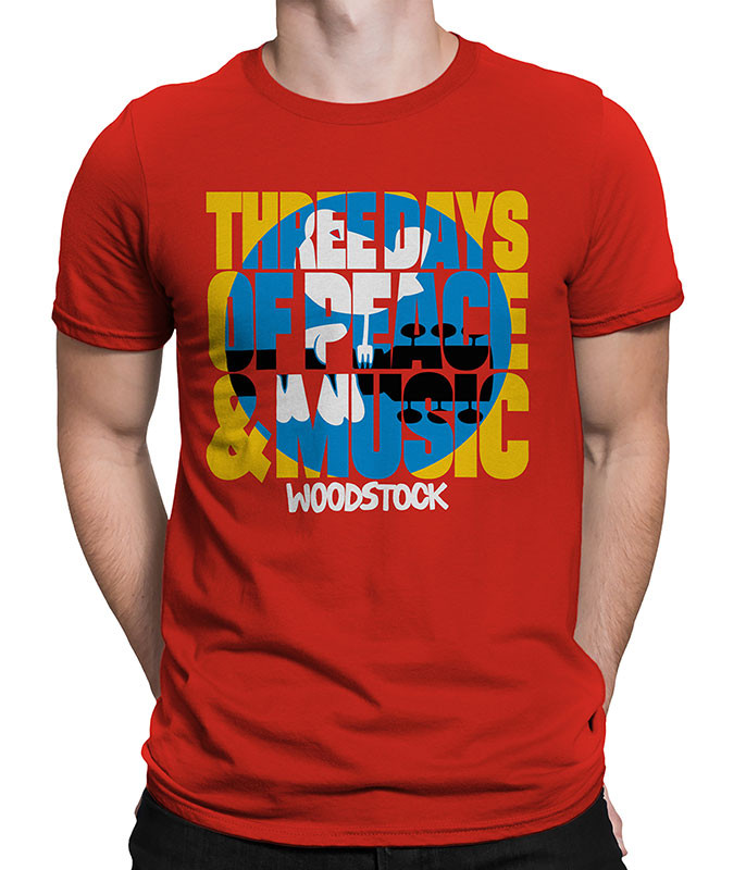 WOODSTOCK LOGO RED ATHLETIC T-SHIRT