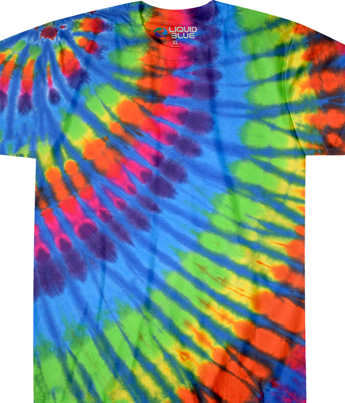 Rainbow Blue Streak Unprinted Tie-Dye T-Shirt Tee Liquid Blue