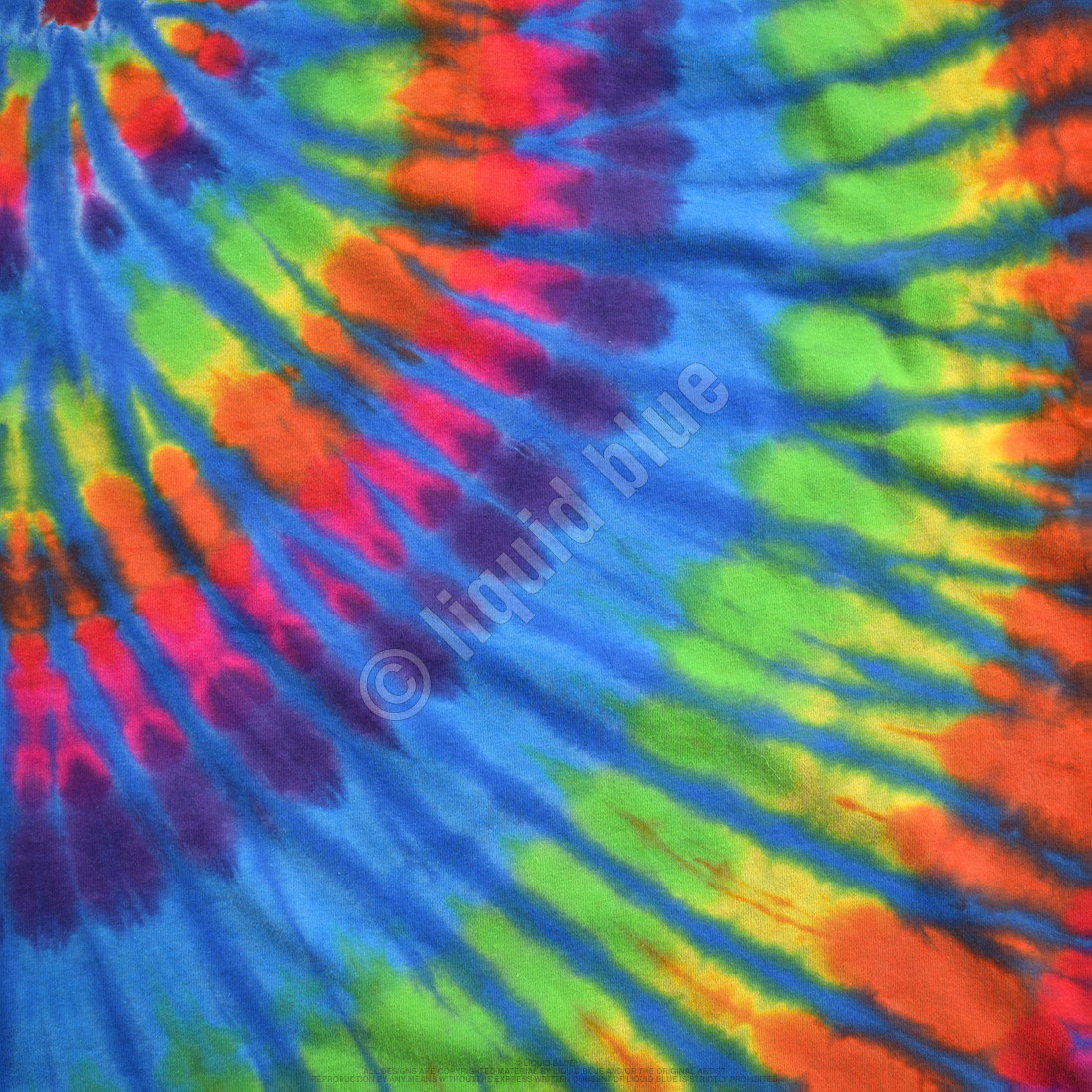 Rainbow Blue Streak Unprinted Tie-Dye T-Shirt
