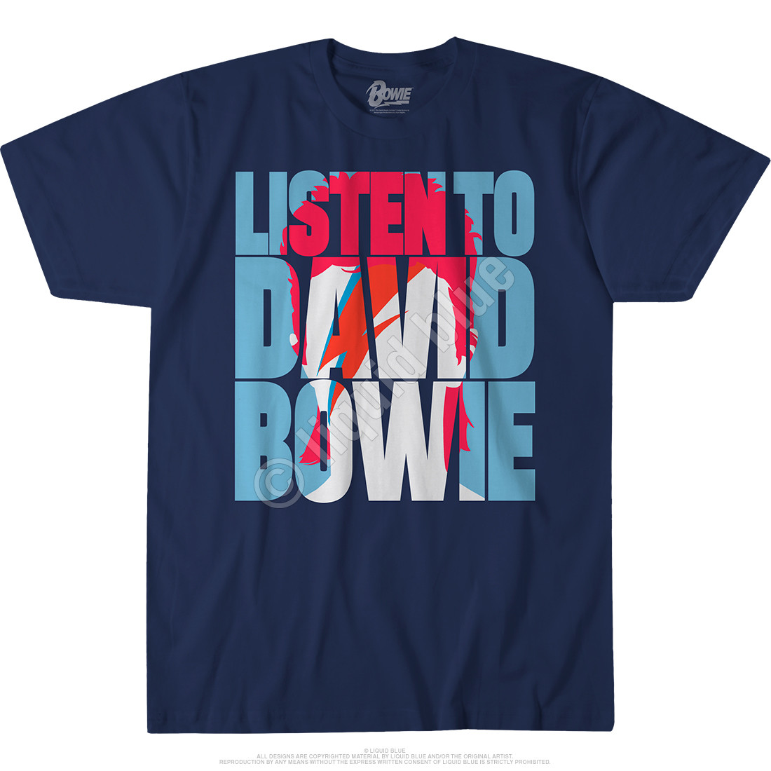 Listen to Bowie Navy Athletic T-Shirt