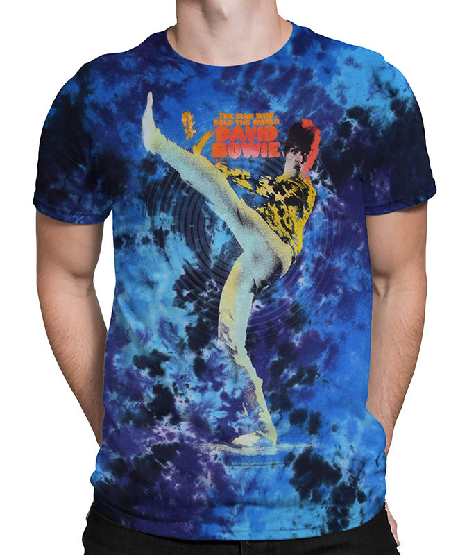 David Bowie Kick Tie-Dye T-Shirt Tee Liquid Blue