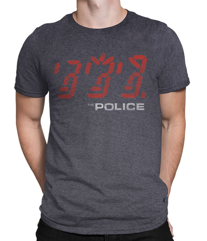 The Police Ghost in the Machine Dark Heather Poly-Cotton T-Shirt Tee Liquid Blue