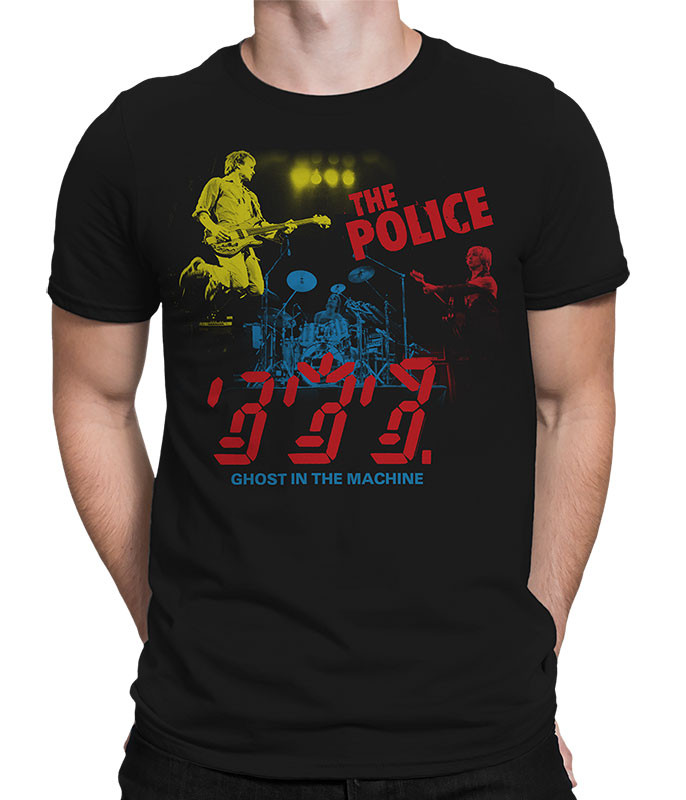 The Police In Concert Black Athletic T-Shirt Tee Liquid Blue