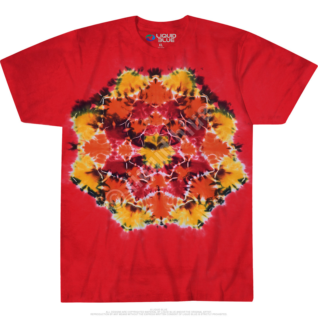Red Mandala Unprinted Tie-Dye T-Shirt