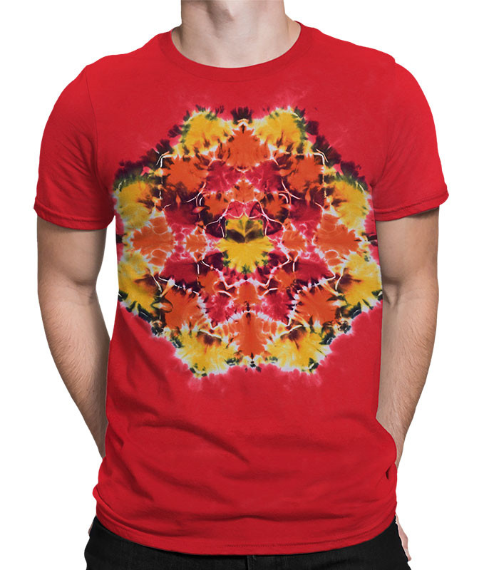 Red Mandala Unprinted Tie-Dye T-Shirt Tee Liquid Blue