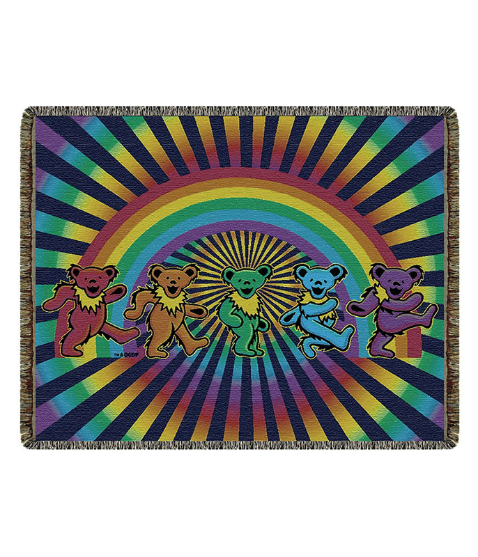 Grateful Dead GD Rainbow Bears Woven Blanket