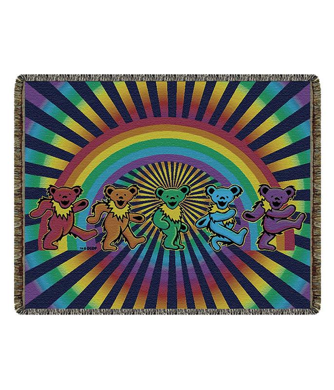 Grateful Dead GD Rainbow Bears Woven Blanket