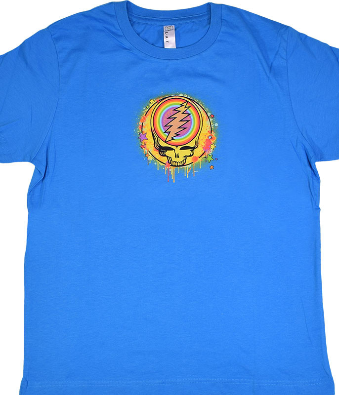 Grateful Dead GD Rainbow Splatter Blue Youth T-Shirt Tee