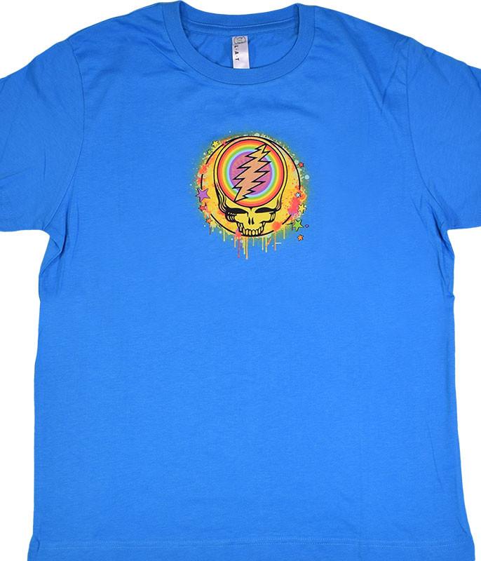 Grateful Dead GD Rainbow Splatter Blue Youth T-Shirt Tee