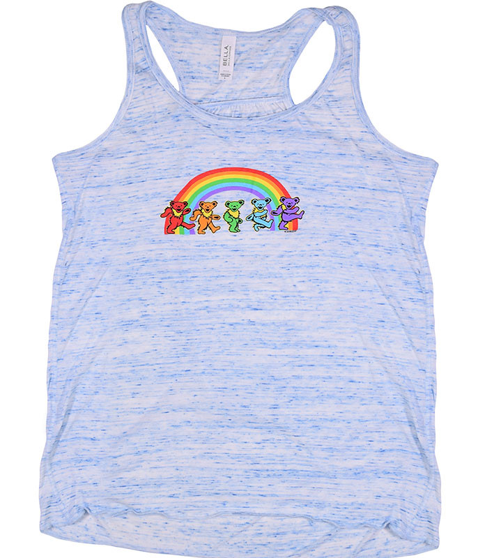 Grateful Dead GD Rainbow Bears Blue Heather Flowy Womens Racerback Tank Top T-Shirt Tee