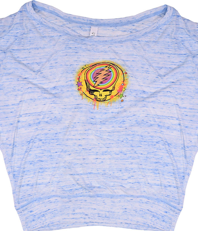 Grateful Dead GD Rainbow Splatter Womens Blue Heather Flowy Long Sleeve T-Shirt Tee