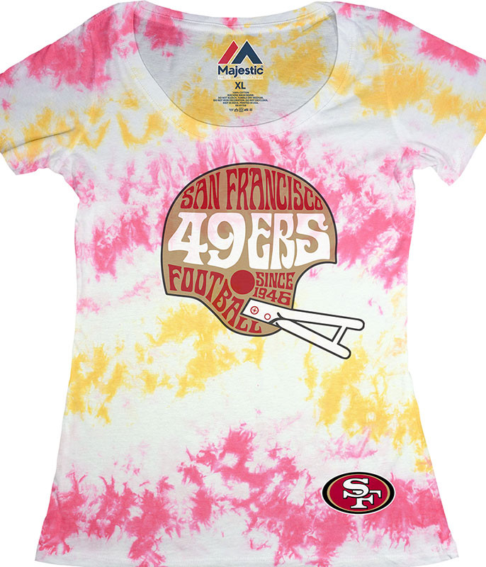 SAN FRANCISCO 49ERS VINTAGE HELMET WOMENS LONG LENGTH TIE-DYE T-SHIRT