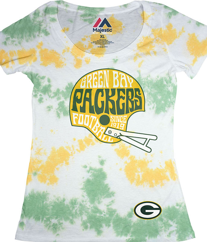 GREEN BAY PACKERS VINTAGE HELMET WOMENS LONG LENGTH TIE-DYE T-SHIRT