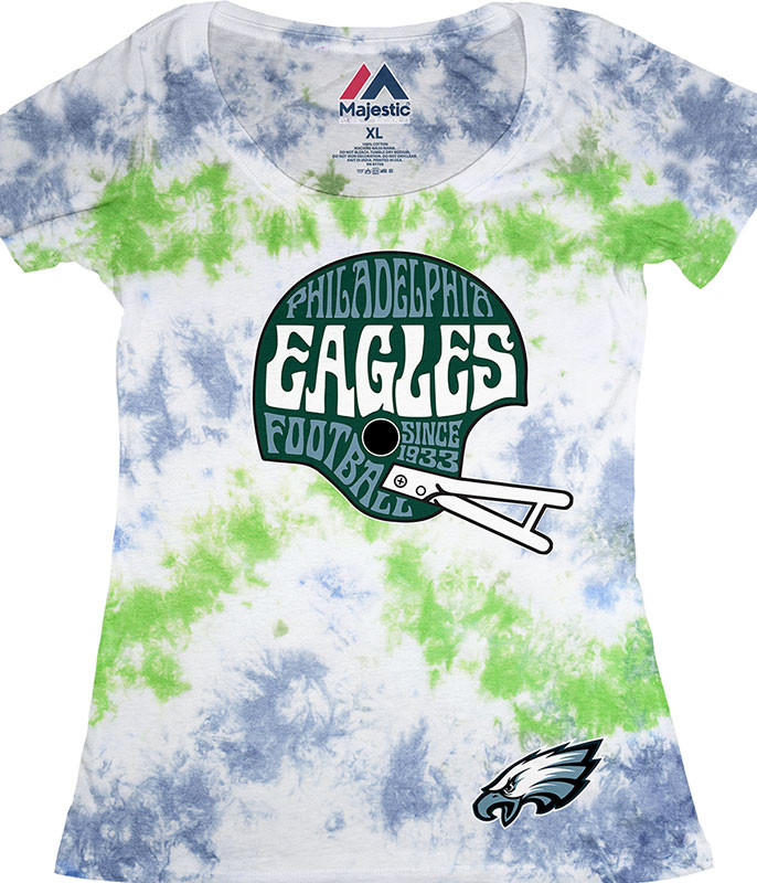 NFL Philadelphia Eagles Vintage Helmet Womens Long Length Tie-Dye T-Shirt Tee Liquid Blue
