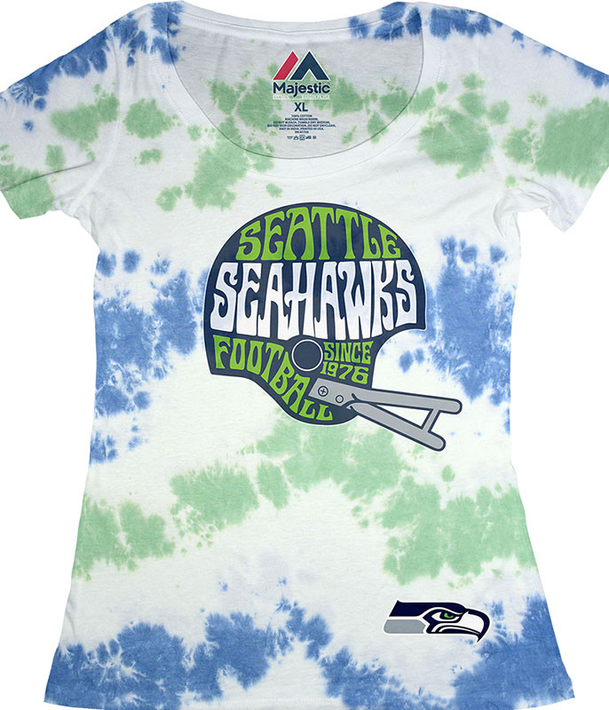 NFL Seattle Seahawks Vintage Helmet Womens Long Length Tie-Dye T-Shirt Tee Liquid Blue