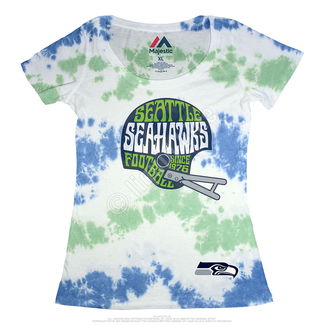Seattle Seahawks Vintage Helmet Womens Long Length Tie-Dye T-Shirt