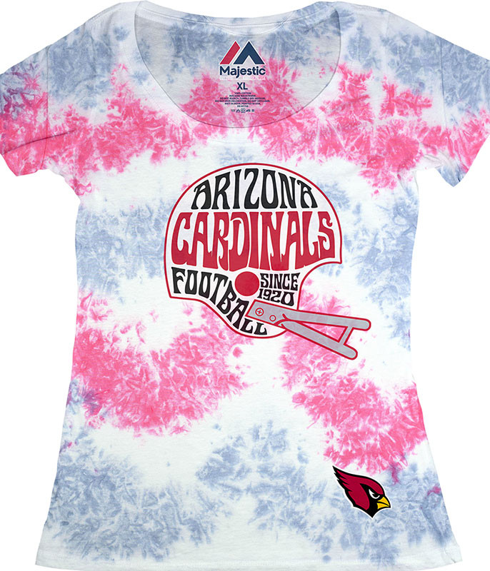 NFL Arizona Cardinals Vintage Helmet Womens Long Length Tie-Dye T-Shirt Tee Liquid Blue