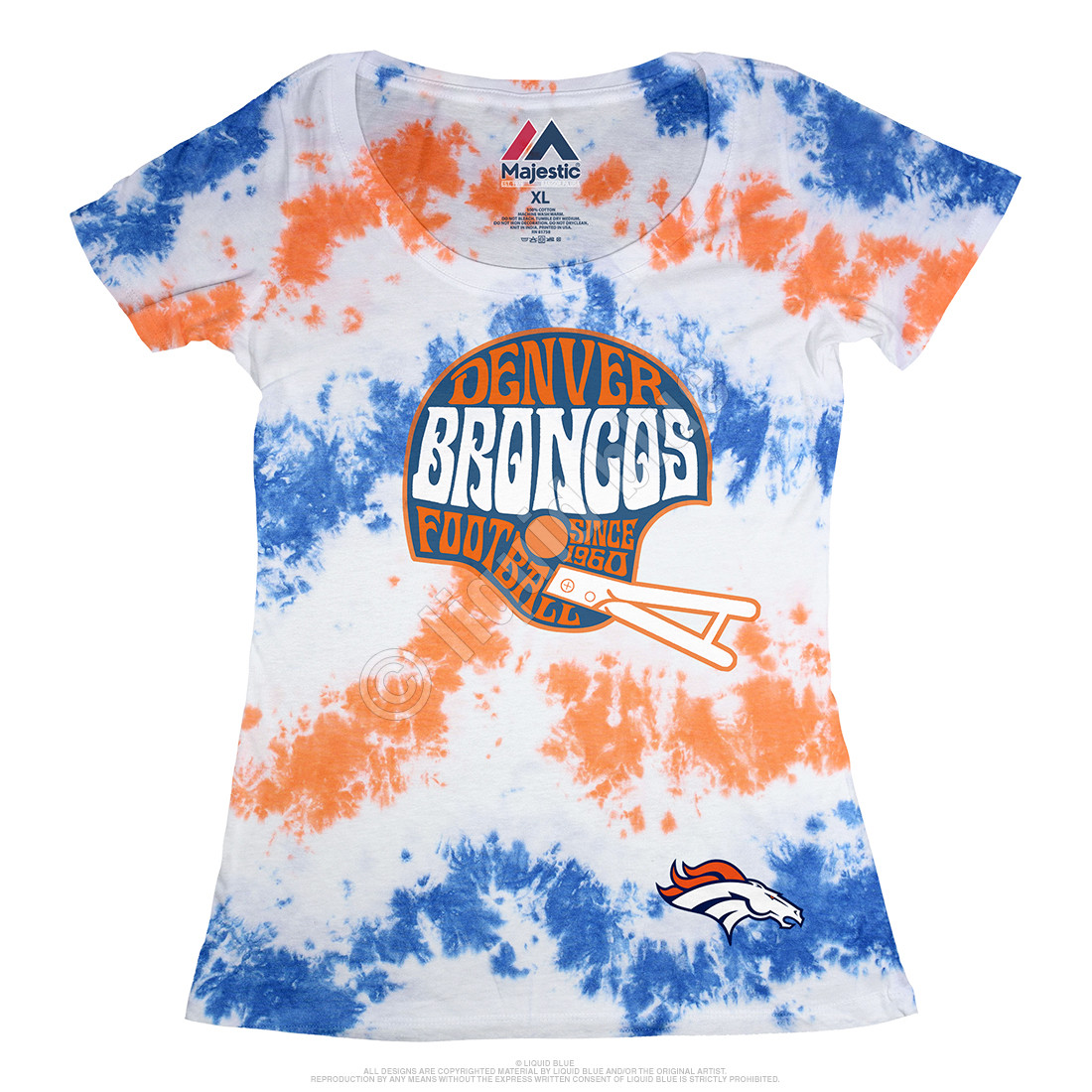 Denver Broncos Vintage Helmet Womens Long Length Tie-Dye T-Shirt
