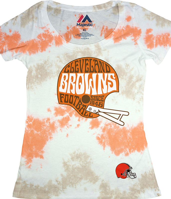 Cleveland Browns Vintage Helmet Womens Long Length Tie-Dye T-Shirt