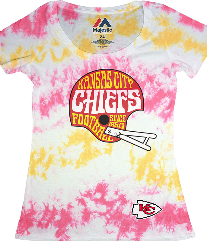 NFL Kansas City Chiefs Vintage Helmet Womens Long Length Tie-Dye T-Shirt Tee Liquid Blue