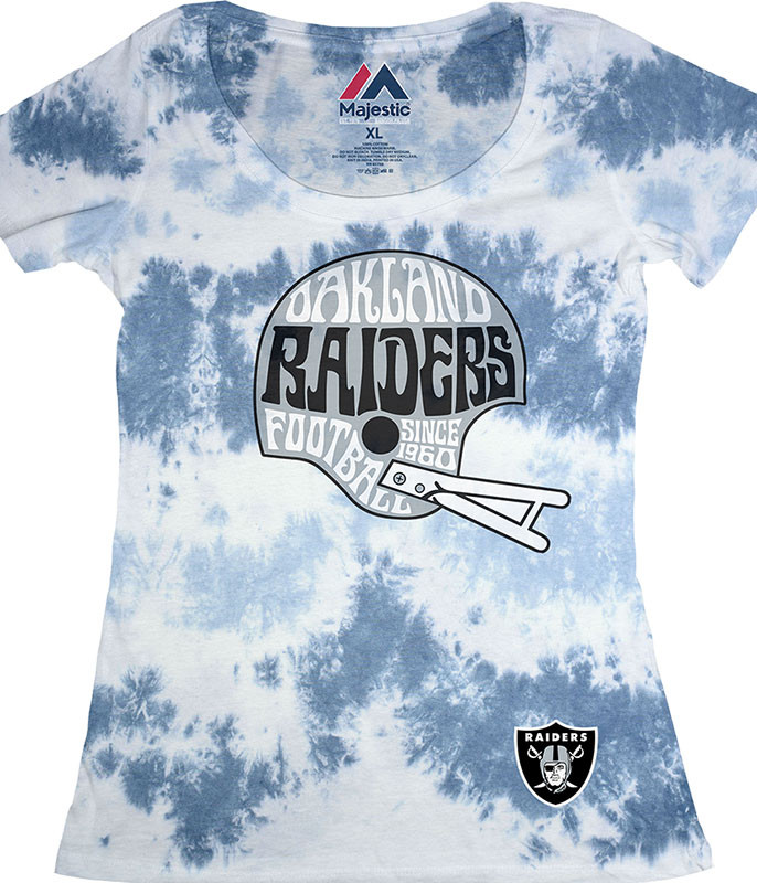 NFL Oakland Raiders Vintage Helmet Womens Long Length Tie-Dye T-Shirt Tee Liquid Blue