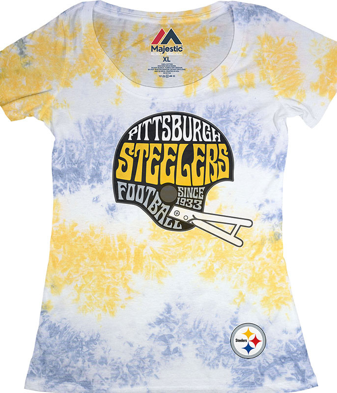 NFL Pittsburgh Steelers Vintage Helmet Womens Long Length Tie-Dye T-Shirt Tee Liquid Blue
