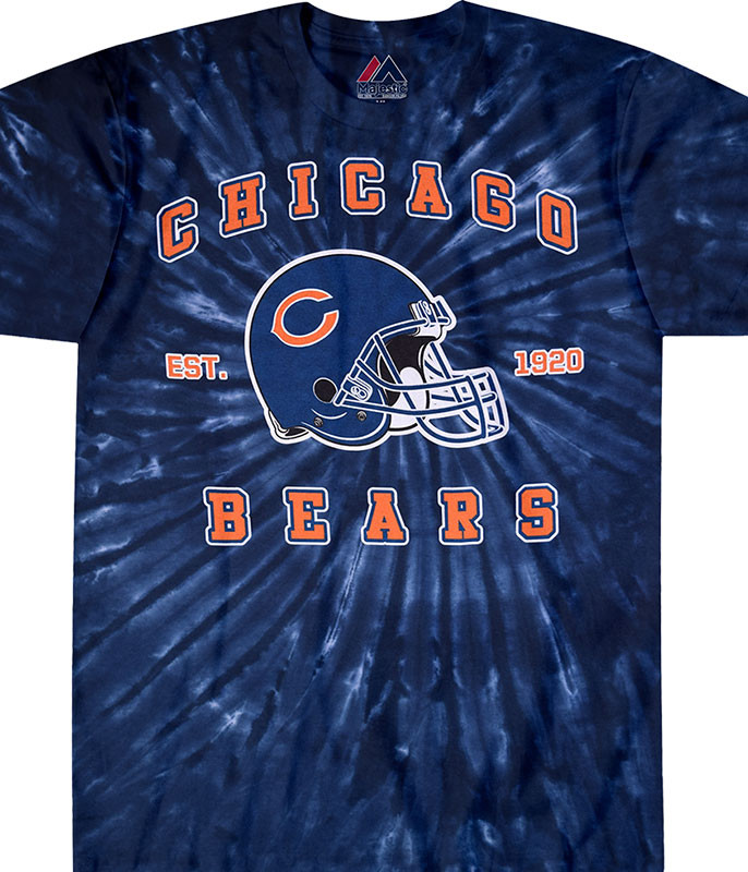 NFL Chicago Bears Spiral Tie-Dye T-Shirt Tee Liquid Blue