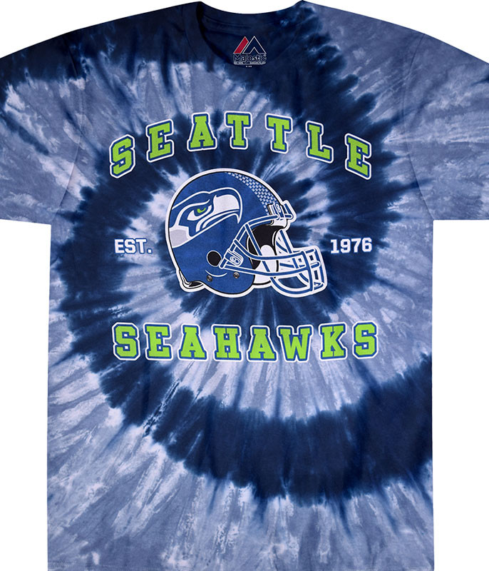 NFL Seattle Seahawks Spiral Tie-Dye T-Shirt Tee Liquid Blue