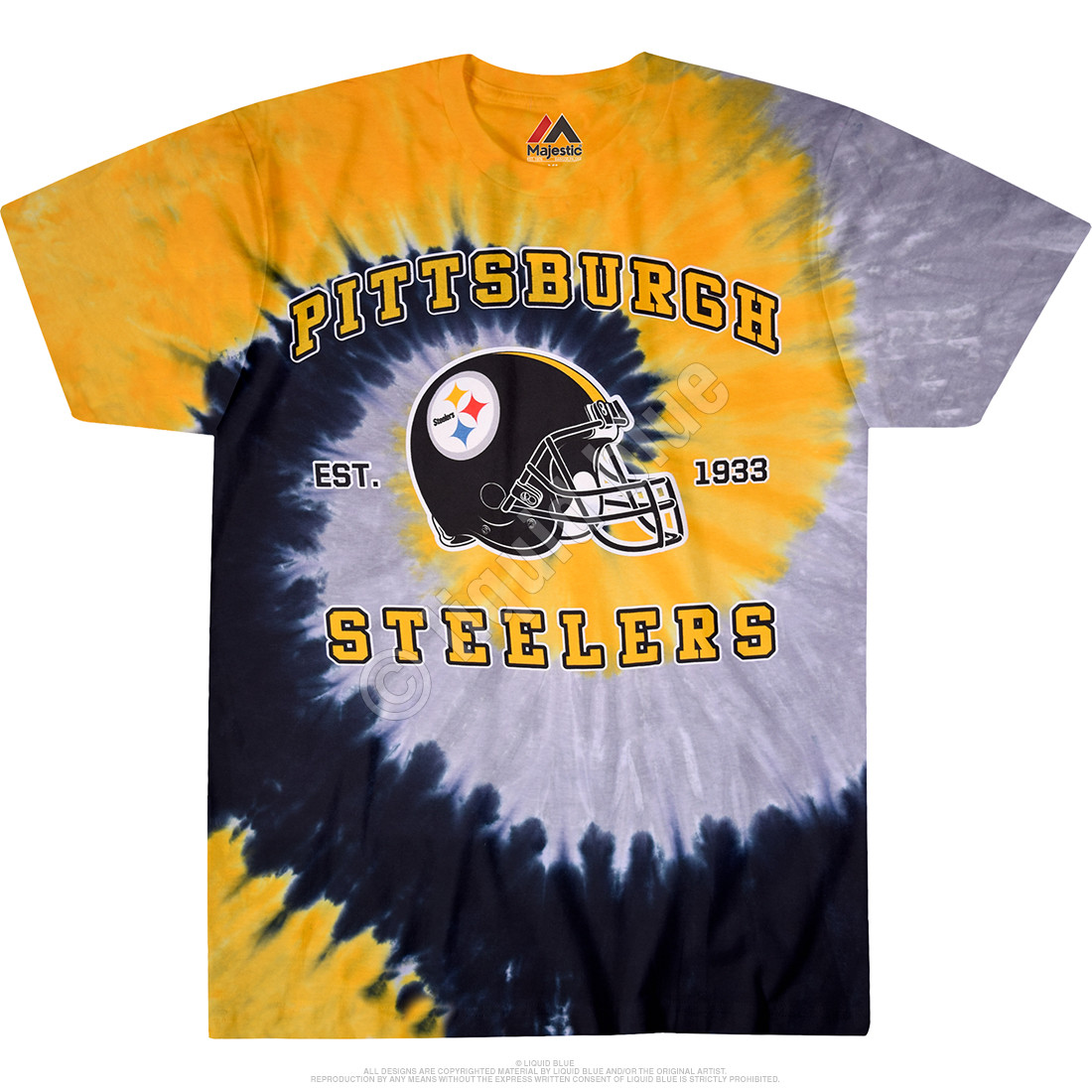 Nfl pittsburgh steelers spiral tie dye t shirt tee liquid blue for Custom tie dye shirts no minimum