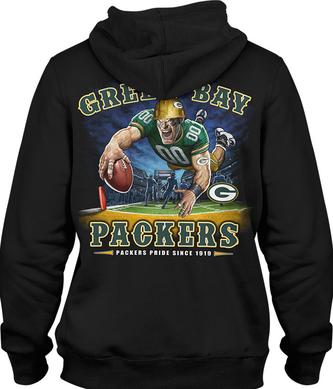 NFL Green Bay Packers End Zone Black Hoodie Liquid Blue
