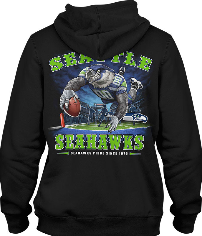 NFL Seattle Seahawks End Zone Black Hoodie Liquid Blue