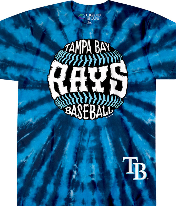 MLB Tampa Bay Rays Burst Tie-Dye T-Shirt Tee Liquid Blue