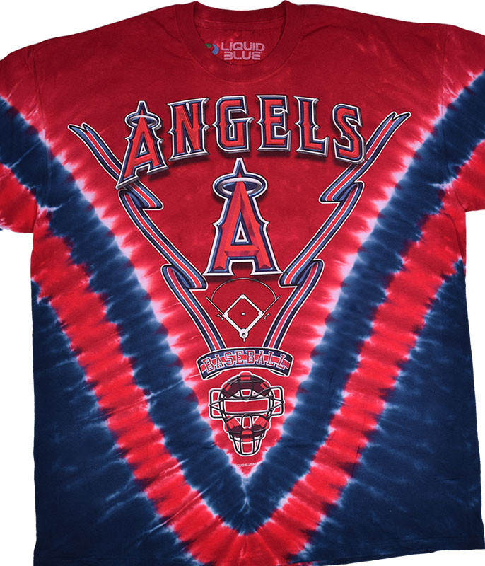 MLB Los Angeles Angels V Tie-Dye T-Shirt Tee Liquid Blue