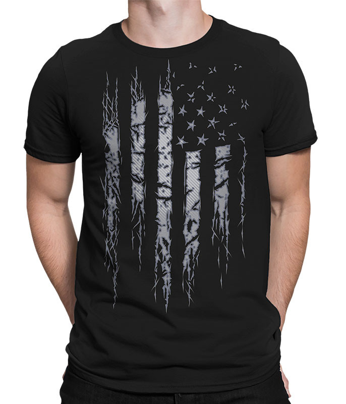 Americana Tattered and Torn Black T-Shirt Tee Liquid Blue