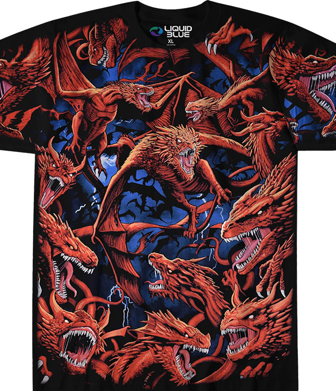 Dark Fantasy Dragon Storm Black T-Shirt Tee Liquid Blue