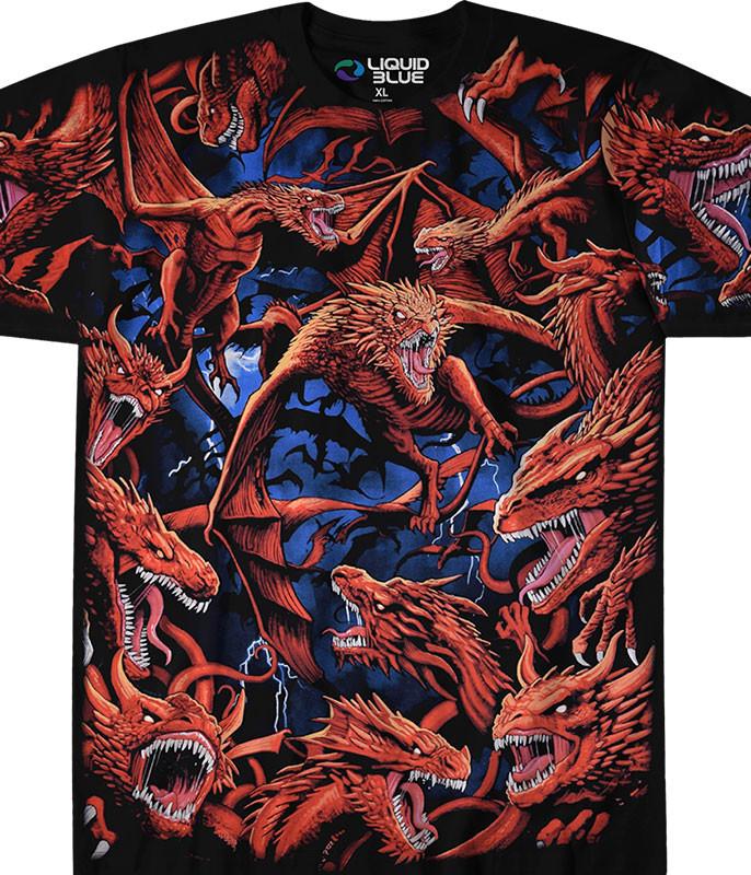 Dark Fantasy Dragon Storm Black T-Shirt Tee Liquid Blue