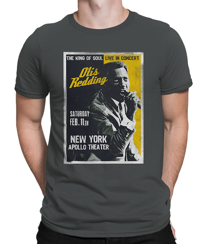 Otis Redding Apollo Theatre Grey Athletic T-Shirt Tee Liquid Blue