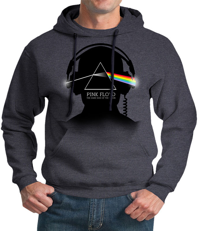 Pink Floyd Dark Side Beats Dark Heather Pullover Hoodie Liquid Blue
